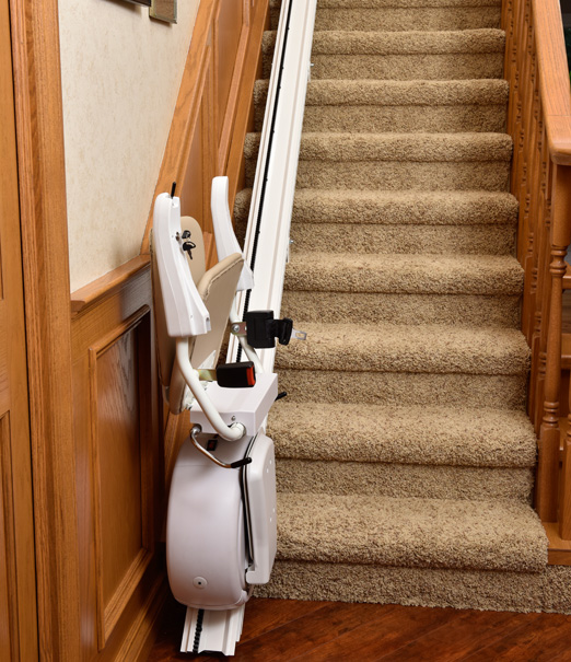 Savaria K2 Straight Stair Lift in the folded position