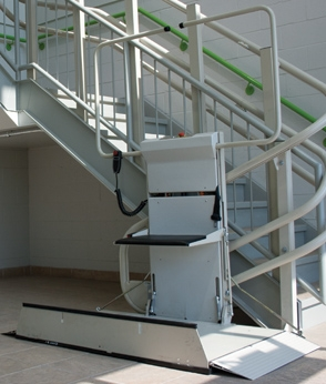 Savaria Omega Inclined Platform Lift installed in a stairwell